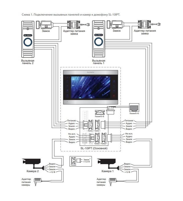 схема подключения Slinex SL-10IPTHD